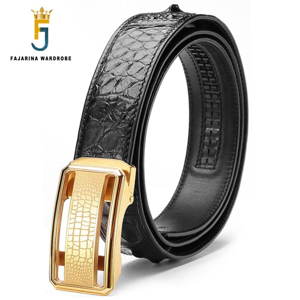 FAJARINA Luxury Men's Real Crocodile Skin Belts Exquisite Stainless Steel Smooth Buckle Business Belt for Men 3.3cm Wide CROD003