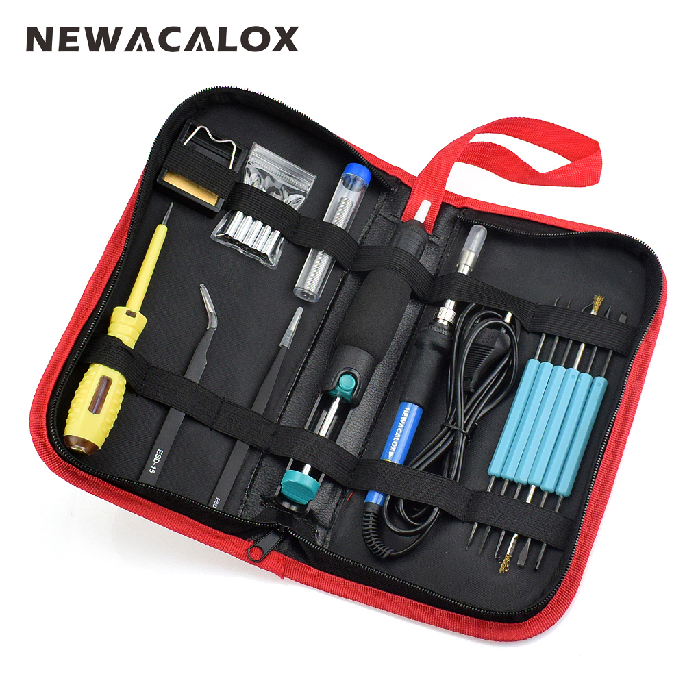 NEWACALOX EU 60W 220V Adjustable Temperature Electric Soldering Iron Kit Welding BGA Repair Tool Bag Set Solder Wire Test Pencil bead wholesale bright purple pearls 30pcs vacuum packed oysters with 6 7mm round akoya pearls ups free shipping