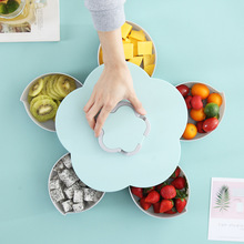Petal Rotation Fruit Box Melon Seed Plate Household Dry Lazy Person Multifunctional Candy Nut  plastic container