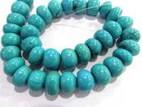 Turquoise stone 2strands 8-12mm rondelle abacus nuggets blue spacer Bead necklace loose beads