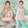 Cartoon flannel nursing pajama maternity clothing autumn and winter thickening pregnant women pajamas maternal breast clothing