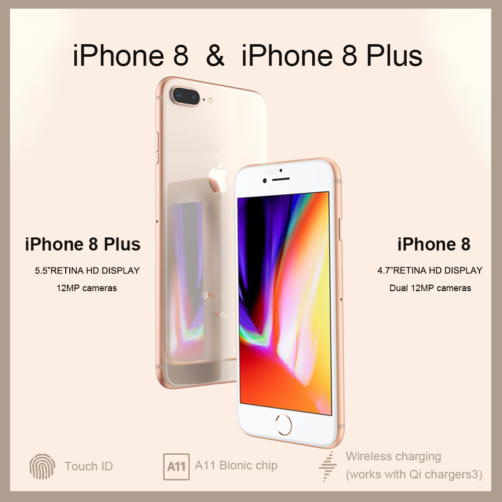 Novo desbloqueado Original Da Apple iPhone 8/8 Plus TouchID 4G LTE iOS 12MP Câmera 4.7/5.5