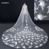 Wedding Veil Cathedral Luxury Long Bridal Veils With Appliques Flowers High One Layer Ivory Veil Veu De Noiva 4 Metros WV018
