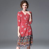 100 Silk Print V Neck Chinese Style Dress 2018 New Brand Runway Women Spring Summer Dress