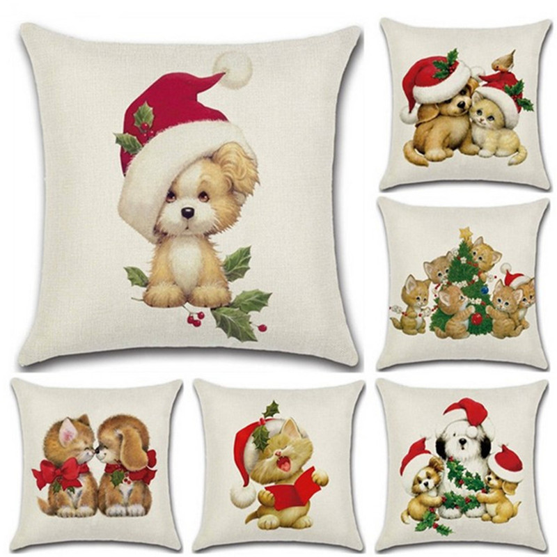 1Pcs 45*45cm Christmas Dog Cat Pattern Pillow Case Hat Leaves Linen Cover Home Supplies Pillowcase