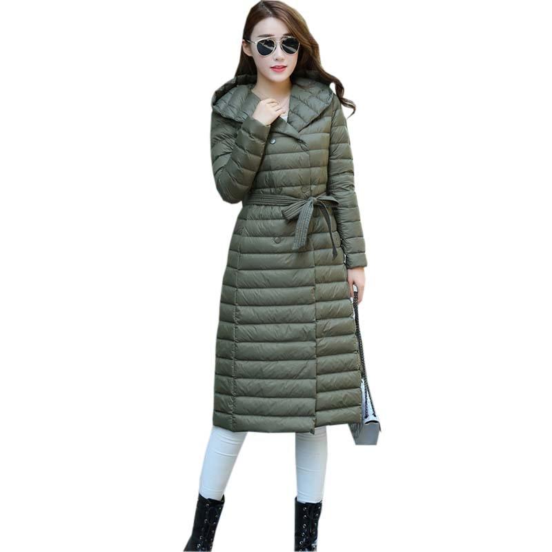 Woman Spring Ultra Light 90% White Duck Down Jacket Hooded Slim Coat Long Female Overcoat Jackets Winter Coat Parkas FP0379
