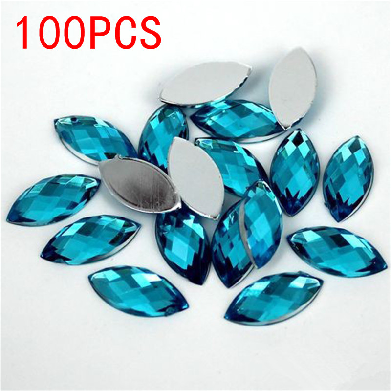 Hot Sale 100Pieces Flat Back Marquise Earth Facets Crystal Acrylic Horse eye Shape Blue Zircon Rhinestone nail Decorate 12 facets of a crystal