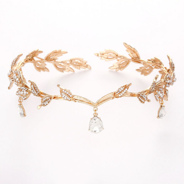 Romantic Water Drop Rhinestone Leaf Tiaras Crown Hairwear Accessories Gold Color Alloy Women Bridal Wedding Headbands Bridesmaid