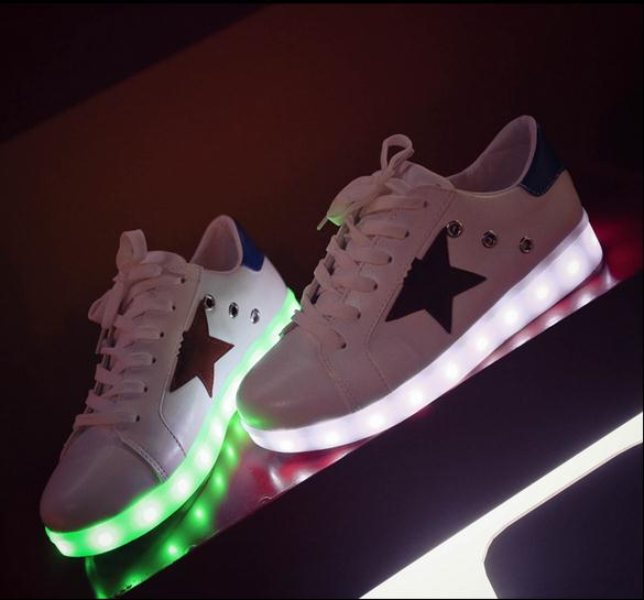 7 colors LED shoes luminous lovers fashion  women USB light up shoes for adults glowing flats shoes