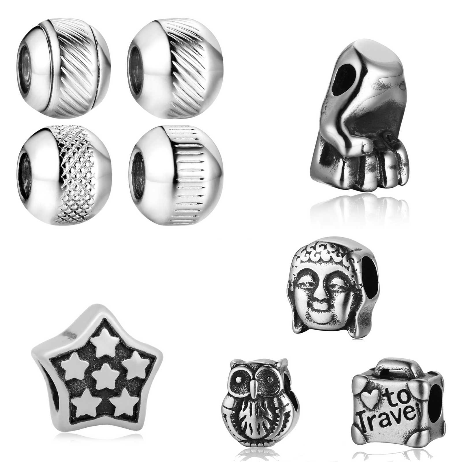 2019 Explosive Stainless Steel Guanyin Owl Suitcase 6 Pentagonal Star Fist Hand Twisted Thread Transverse Beads Processing