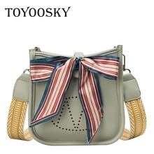 TOYOOSKY 2019 Hot Hollow Out Women Handbag PU Leather Bucket Bag Fashion Scarves Shoulder Bags Ladies Crossbody