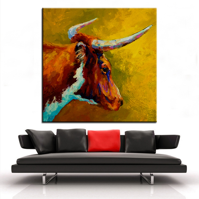 Large Size Printing Oil Painting Longhorn Steer Wall Painting Steampunk  Wall Art Picture For Living Room
