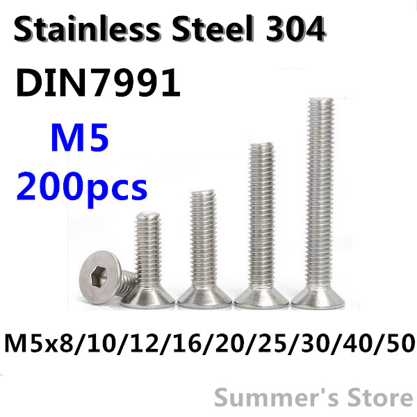 Symbol Of The Brand 200pcs/lot Din7991 M5 Stainless Steel Hex Socket Flat Head Cap Screw M5*8/10/12/16/20/25/30/35/40/50mm Countersunk Screw Bolt Cool In Summer And Warm In Winter