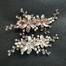SLBRIDAL Crystal Rhinestone Freshwater Pearls Flower Wedding Hair Clip Barrettes Bridal Headpiece Accessories Women Jewelry