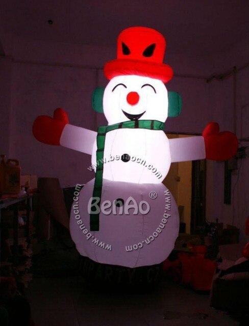 X056 4 м Прекрасный гигантский открытый рождественский надувной снеговик с Светом СИД для рождественские украшения