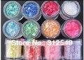 Profesional 12 Colores Hiele Mylar Brillo de Uñas De Acrílico/UV GEL Nail Art Decoración Envío Gratis 10g/olla