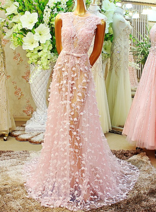 Custom Made New Design Luxury Long   Evening     Dress   2015 Tulle Appliques Beaded Crystal Dubai Prom Party Gowns robe de soiree XE1
