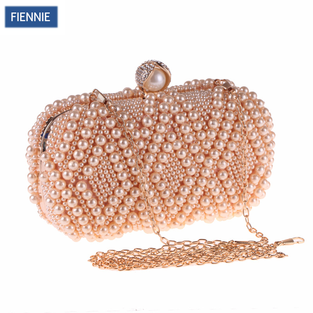FIENNIE Women Beaded Pearl Evening Bag Elegant Ladies Dress Party Wedding Clutch Bags Small Shoulder Bags tentop a two sided beaded fashion exquisite beaded evening bag noble elegant pearl clutches bags shoulder party bags white pearl