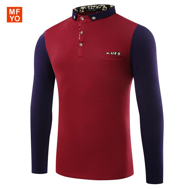 New Luxury style Men Contrast Color Polo Shirt Quality Brand Business Casual Long Sleeve Casual Polo Men Camisa Polo Masculina