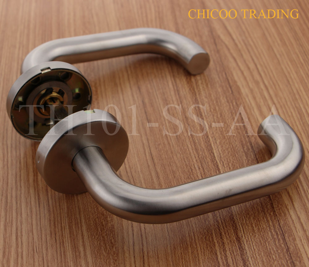 Stainless steel 304 door handle lever handles entry door handle without escutcheon in door for Door handles for exterior doors