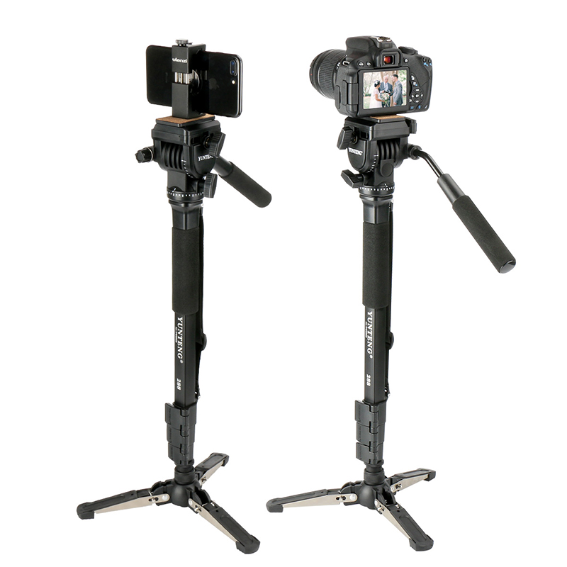 Ulanzi VCT-288 58in Photography Tripod Monopod Unipod with Fluid Pan Head Quick Release Plate for iPhone Canon Nikon DSLR Camera