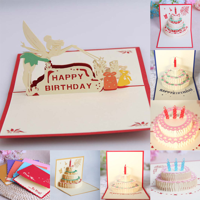 Happy Birthday Postcard Greeting Gift Cards Pop Up 3d Paper Cake