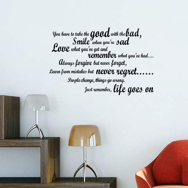 Online Shop Life Goes On Wall Stickers Quotes Vinyl Art Decals
