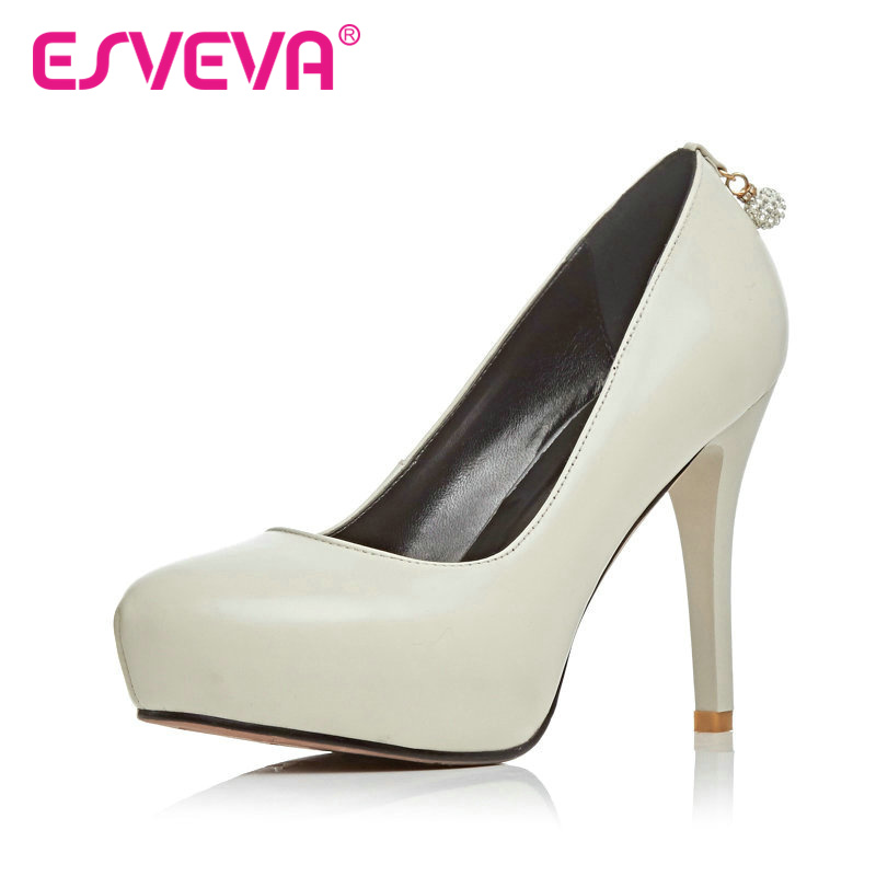 ФОТО ESVEVA Hot Sale Platform Slip On Round Toe Women Pumps Genuine Leather Solid Spring/Autumn Lady Party Shoes Size 34-39 White
