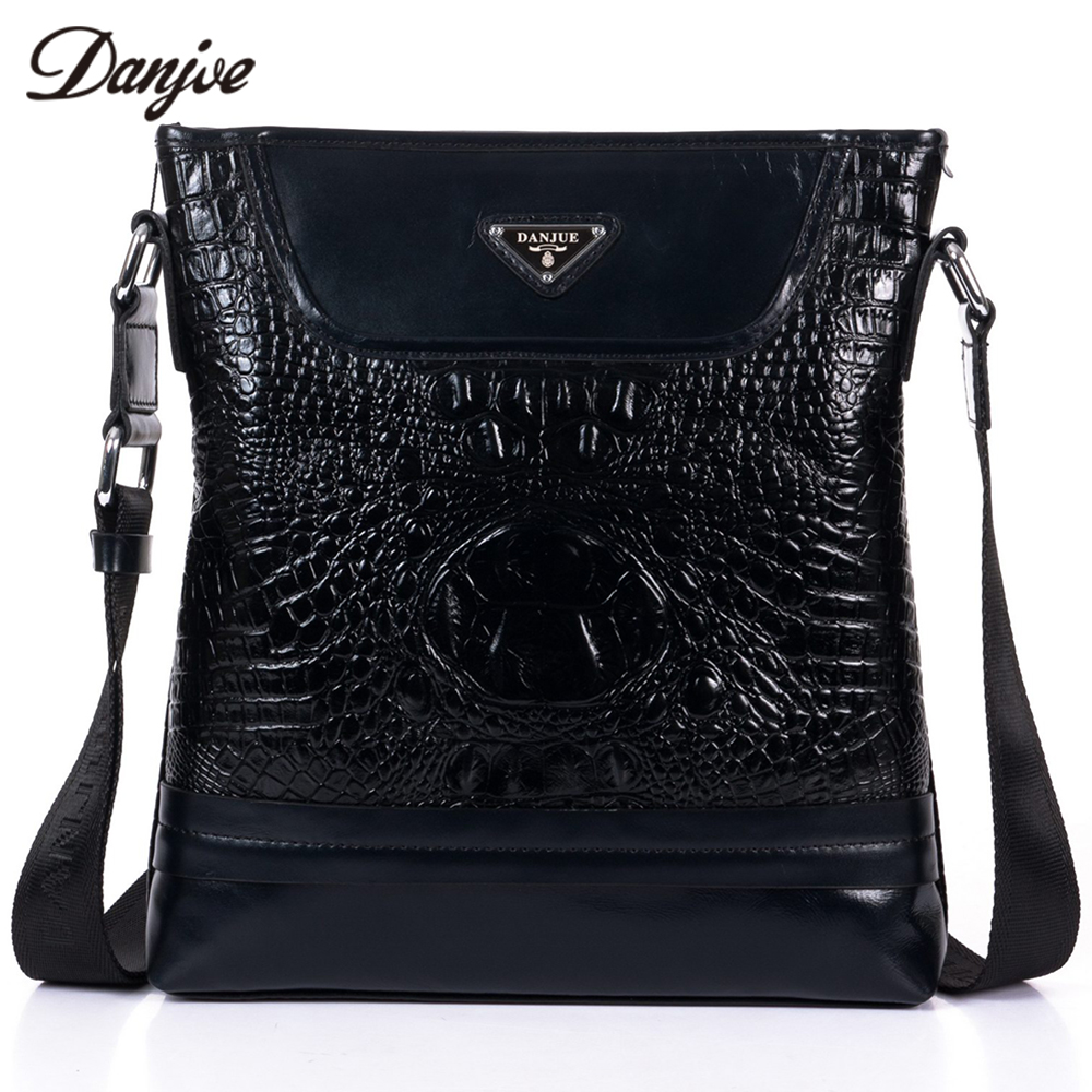 DANJUE Male Business Bag Genuine Leather Crocodile Messenger Bags Men Fashion Classic Black Crossbody Bag For Male Daily Bag danjue brand men chest bags real genuine leather male messenger bag casual fashion highquality big capacity travel crossbody bag