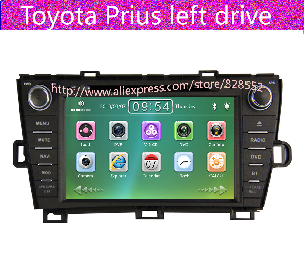 Free Shipping Car Dvd Player For Toyota Prius left drive GPS navigation  With Bluetooth Ipod Radio TV Free Map-in Car Multimedia Player from  Automobiles ...