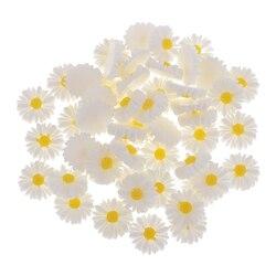 Белая желтая Маргаритка цветок из полимера, 50 шт., 13 мм, кнопки с кабошоном, сделай сам, украшения для телефонов, девушек, волосы в центре, бант