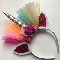 ילדי גומייה לשיער שיפון קרן חד קרן קשת Unicorn ראש גליטר Hairbands אביזרי שיער מתנת פסחא בונוס למסיבה