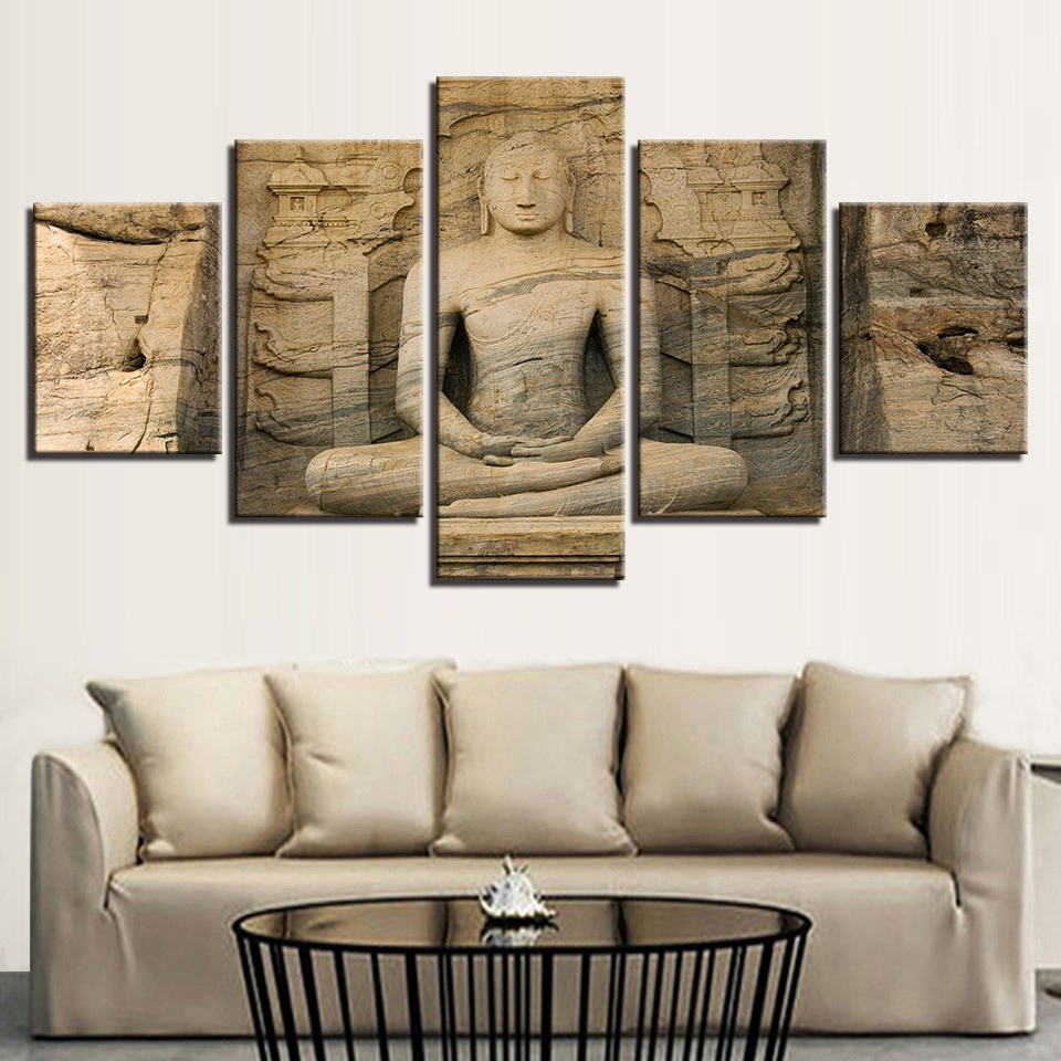 Artwork Modular HD Poster Frame Printed 5 Panel Stone Buddha Painting Wall Modern Canvas Living Room Pictures Home Decoration