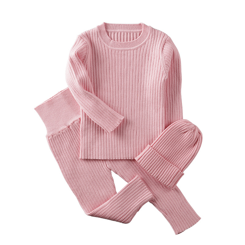 3pcs/set Spring Autumn Winter Baby Girl Clothes Knit Ribbed Sweater Boys Sweaters Pants Hats Childrens Clothing 0-2Y3pcs/set Spring Autumn Winter Baby Girl Clothes Knit Ribbed Sweater Boys Sweaters Pants Hats Childrens Clothing 0-2Y