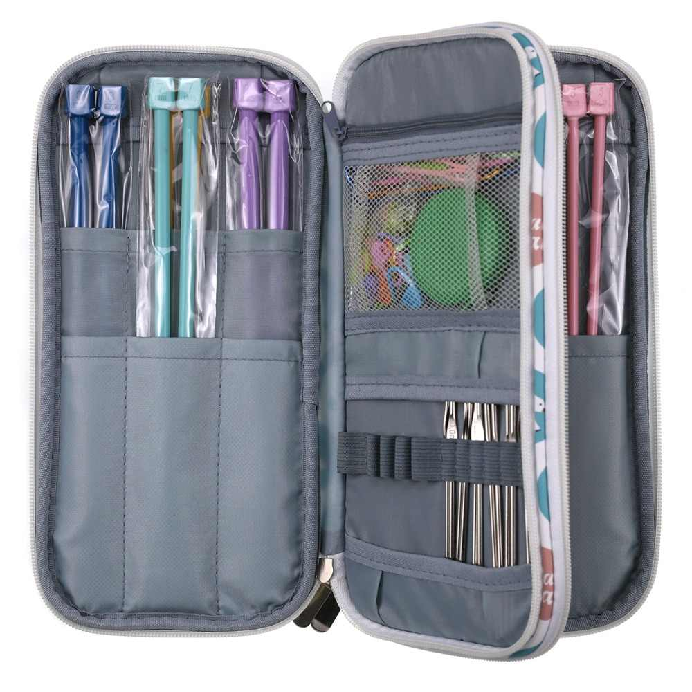 New Big Capacity Empty Crochet Hook Pouch Knitting Needles Kit Organizer Bag Sewing Needles Scissors Ruler Sewing Accessory Case