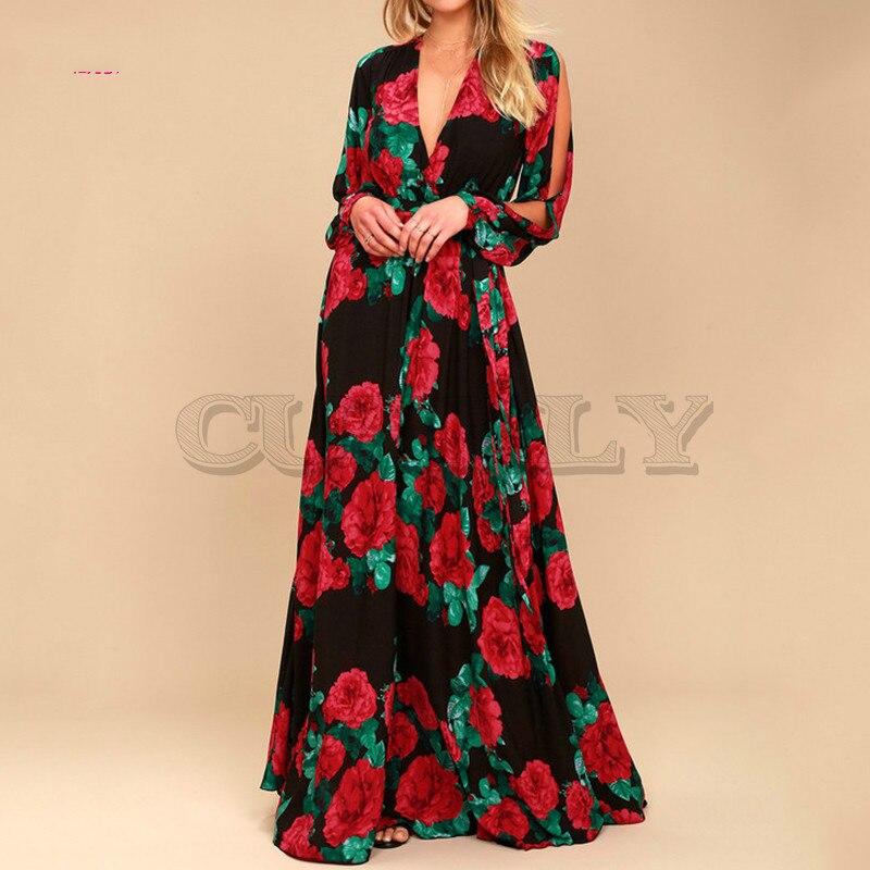 CUERLY women bohemian long dress Hot sale rose printing V-neck sexy de festa spring summer fashion sleeve