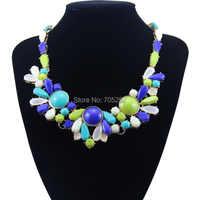 New Arrival Lady's Gorgeous Flower Pendants Bib Statement Choker Necklace Multi-color
