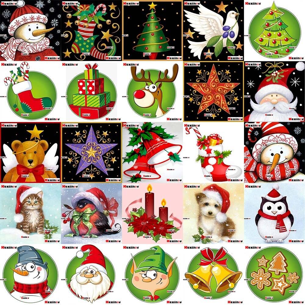 Kexinzu Full Square/Round 5D DIY Diamond Painting Cross Stitch 3D Embroidery Mosaic Diamondpainting Christmas Greeting Card Gift