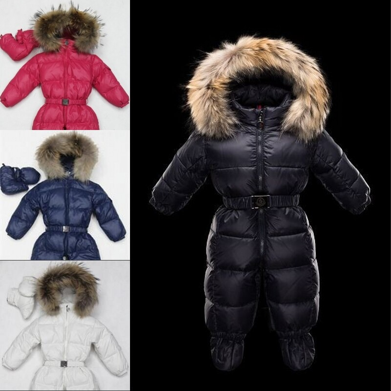 0f4aff9c1 Winter baby snowsuit newborn white duck down 100% Real Raccoon fur ...