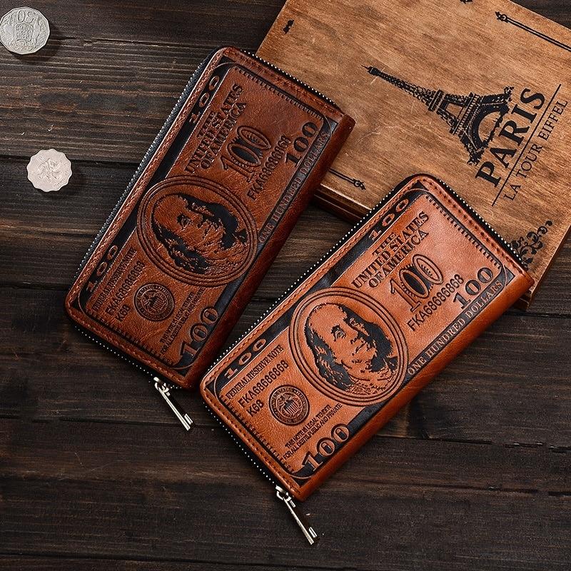 Billeteras largas Unisex, carteras largas de diseño clásico con bandera, US 100, dólares