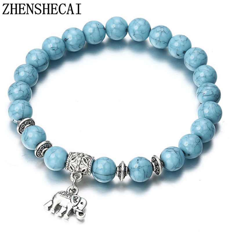 2018 Bracelet Classic Natural Stone Blue Beaded Bracelets for Men Women Best Friend Hot popular A56