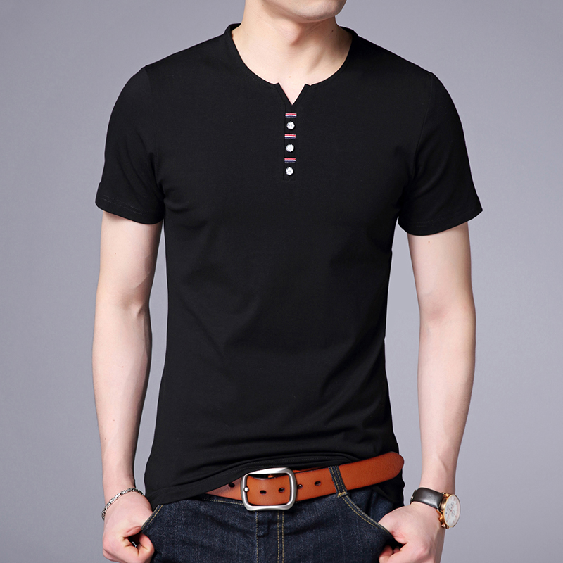2020 New Fashion Brand T Shirt Mens V Neck Solid Color Summer Tops Streetwear Trends Top Grade Short Sleeve T-Shirt Men Clothes