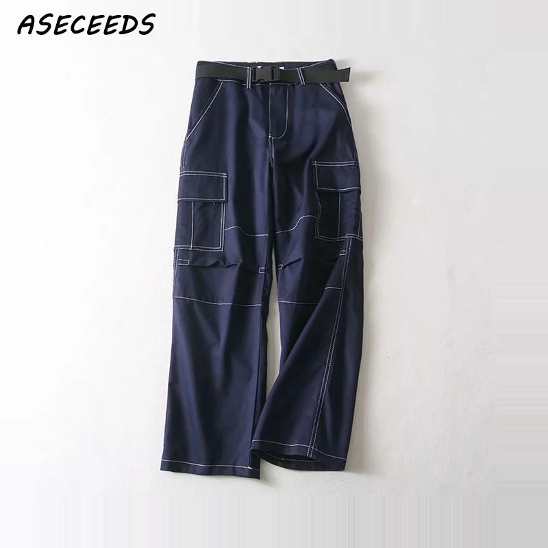 Fall high waist Cargo pants Joggers women pockets sashes sweatpants pants women loose trousers streetwear 2018 Korean clothes