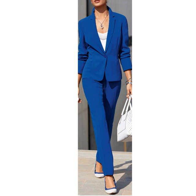 Fashion Blue Women Suits One button Notched Lady Business Suits Formal Office Uniform Custom made Jacket