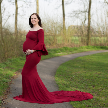 D&J New Maternity Photography Props Maxi Maternity Gown Ruffles Sleeves Cotton Maternity Dress Maternity Fancy Photo Shooting
