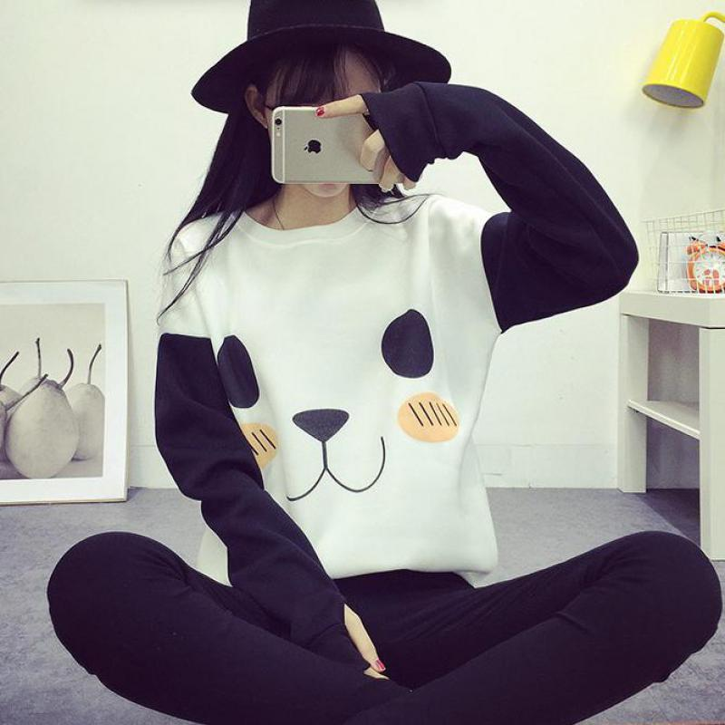 Kawaii Women Hoodies Fashion Cartoon Panda Sweatshirts Casual Printed Mixed Color Harajuku Tracksuit Female Sudaderas Mujer 2018