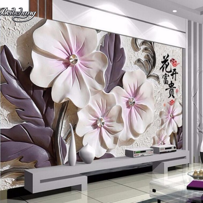 Beibehang 3D Embossed Lotus Wallpaper Art Modern Living Room Video Wall Background Home Decoration Painting
