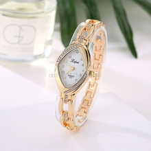 Women Rhinestone Gold Stainless Steel Diamond Dial Bracelet Quartz Wrist Watch