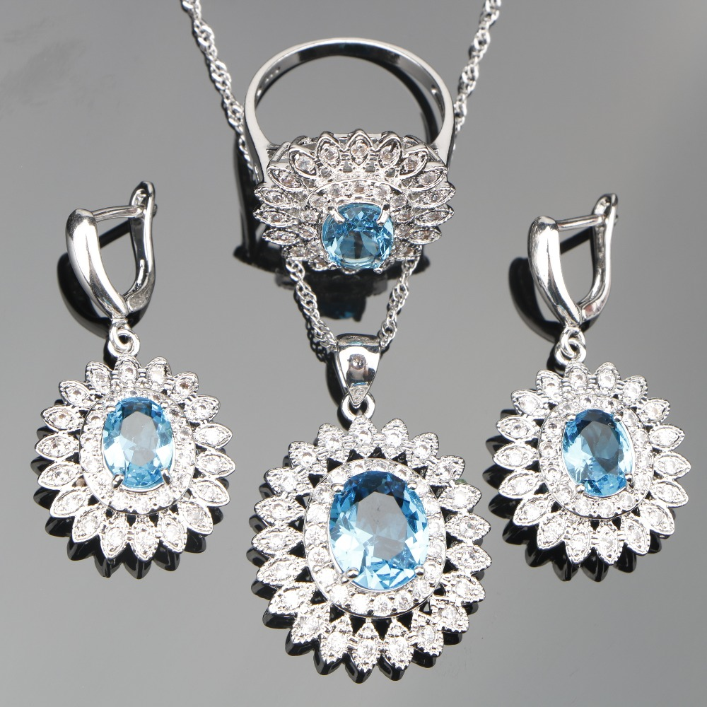 Flower 925 Silver Blue Zircon Jewelry Sets Bridal Women White Stones Earrings Pendant Necklace Rings Set Jewelery Gift Box