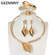 Dubai Gold Jewelry Sets for Women Necklace and Earrings Set New Fashion Crystal Rhinestone Wedding Party African Jewellery